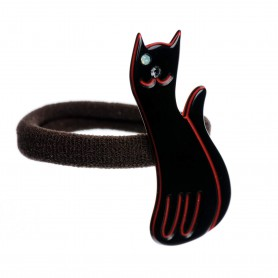 Medium size cat shape Hair elastic with decoration in Black and marlboro red