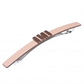 Medium size long and skinny shape Hair barrette in Old pink and dark brown