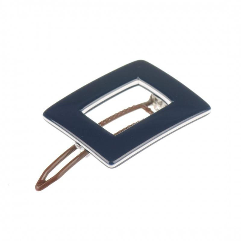 Small size rectangular shape Hair clip in Blue and white shiny finish