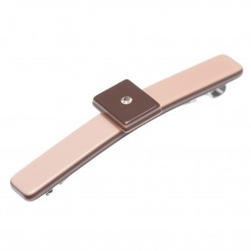 Small size rectangular shape Hair barrette in Old pink and dark brown