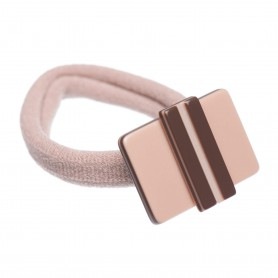 Medium size rectangular shape Hair elastic with decoration in Old pink and dark brown