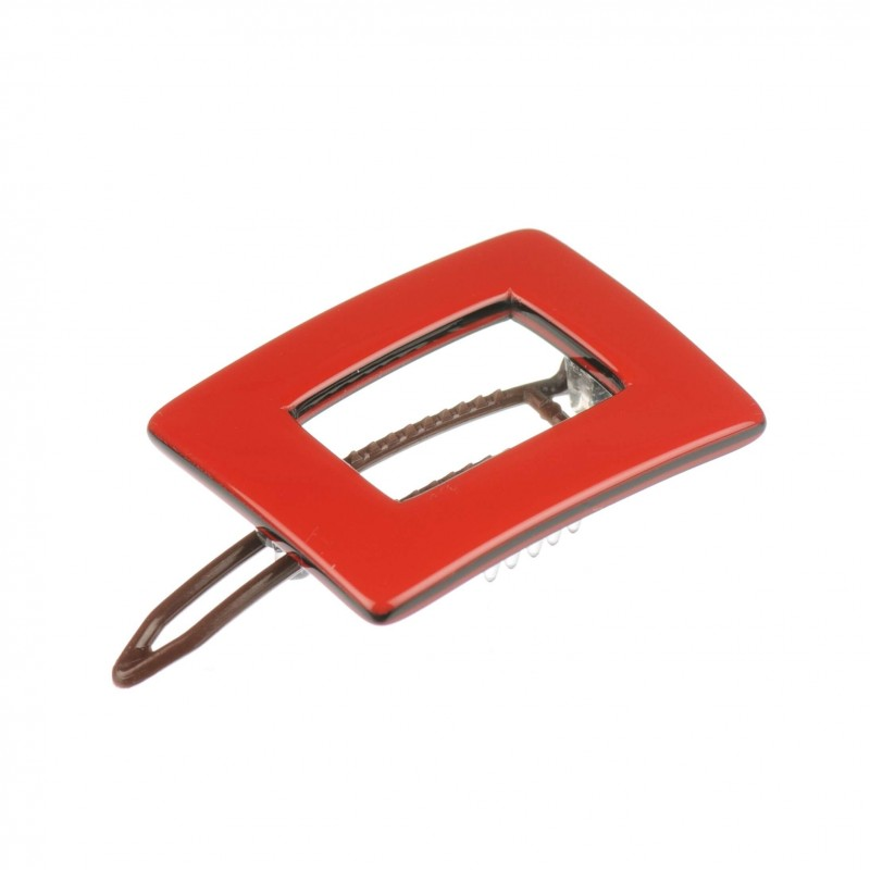"French Made Metal-Free Hairclips ""Red sandwich"""