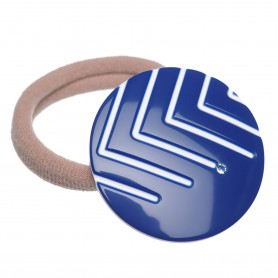 Medium size round shape Hair elastic with decoration in Blue and white