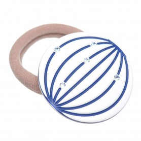 Medium size round shape Hair elastic with decoration in White and blue