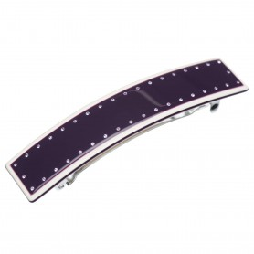 Medium size rectangular shape Hair barrette in Violet and ivory