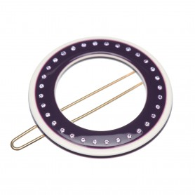Small size round shape Hair clip in Violet and ivory