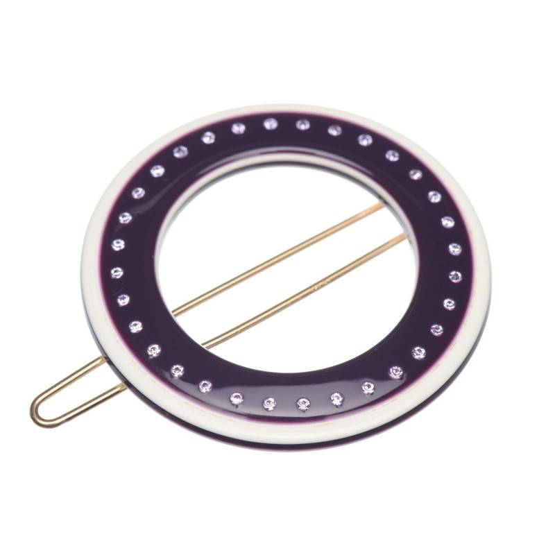 Small size round shape Hair clip in Violet and ivory shiny finish