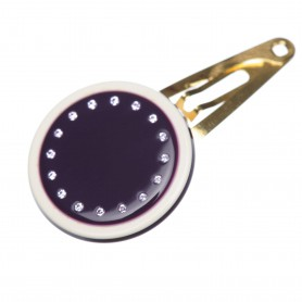 Very small size round shape Hair snap in Violet and ivory