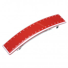 Medium size rectangular shape Hair barrette in Marlboro red and white