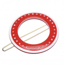 Small size round shape Hair clip in Marlboro red and white