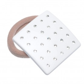 Medium size square shape Hair elastic with decoration in White