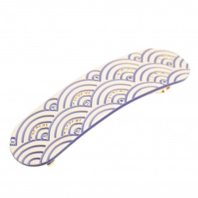 Medium size oval shape Hair barrette in Ivory and violet