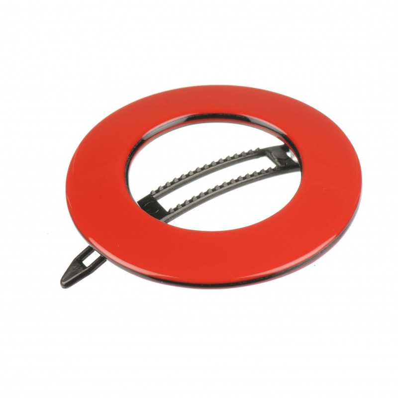Small size round shape Hair clip in Marlboro red and black shiny finish