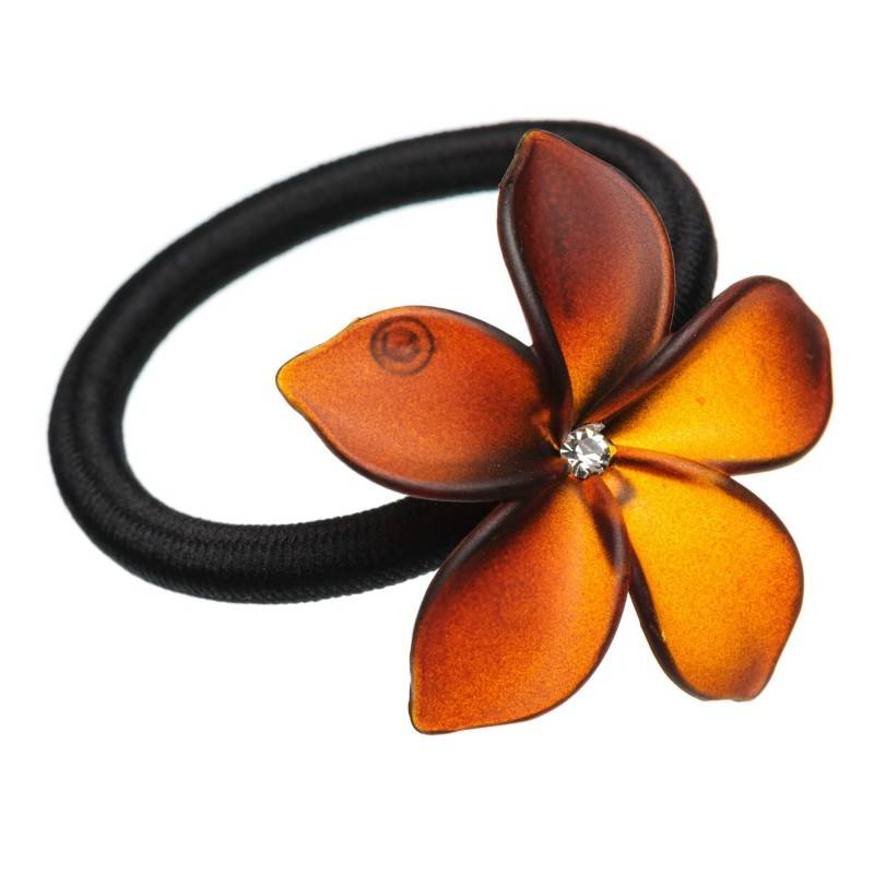 Medium size flower shape Hair elastic with decoration in Brown matte finish