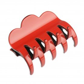 Medium size regular shape Hair jaw clip in Marlboro red and black