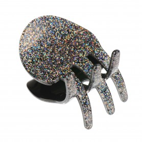 Medium size regular shape Hair jaw clip in Silver glitter