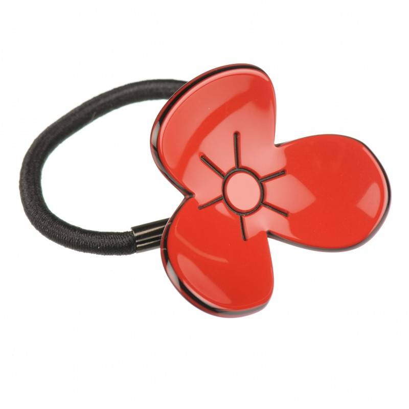 Medium size flower shape Hair elastic with decoration in Marlboro red and black shiny finish