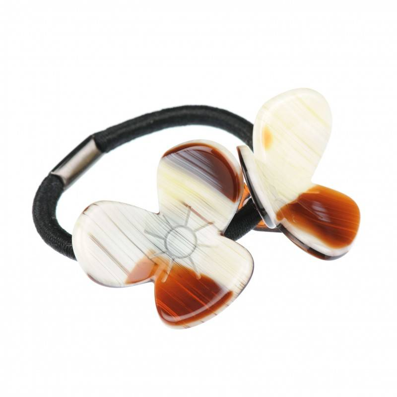 Medium size flower shape Hair elastic with decoration in Chocolate horn shiny finish