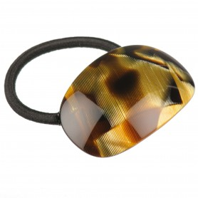 Medium size oval shape Hair elastic with decoration in Black and gold texture