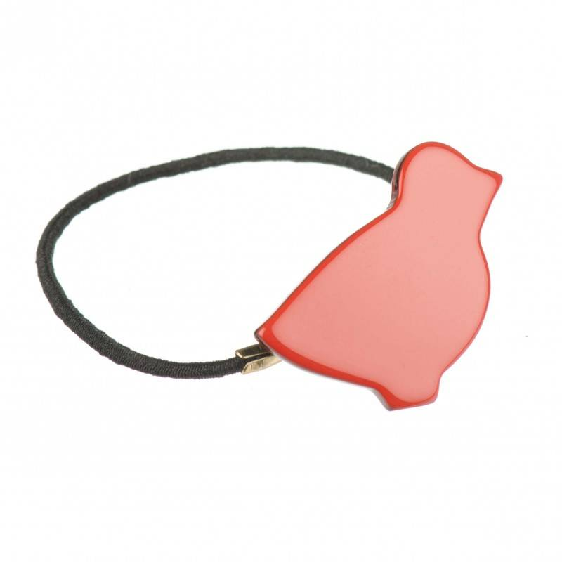 Small size bird shape Hair elastic with decoration in Marlboro red and black shiny finish