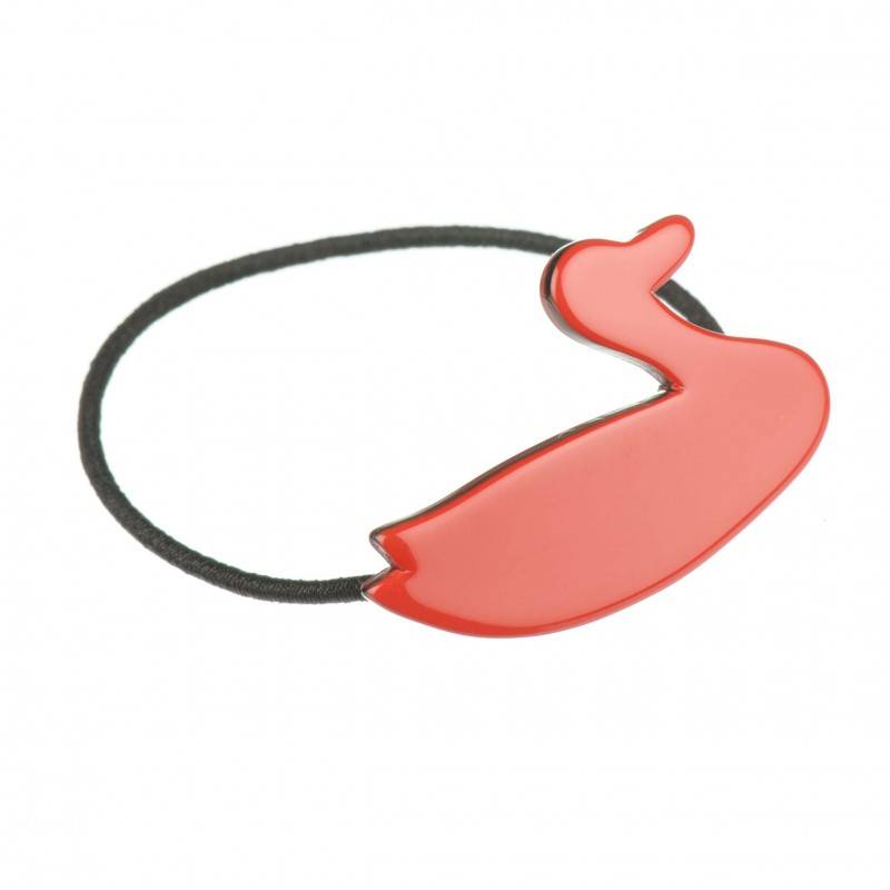 Small size special ornament Hair elastic with decoration in Marlboro red and black shiny finish