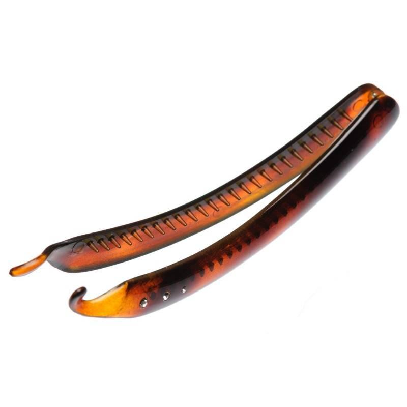 Medium size regular shape Hair banana clip in Brown shiny finish