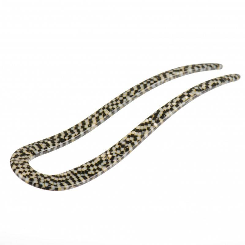 Medium size fork shape Hair stick in Opera shiny finish