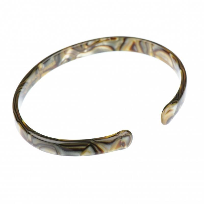Medium size oval shape Bracelet in Onyx shiny finish