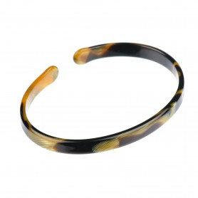 Medium size oval shape Bracelet in Black and gold texture