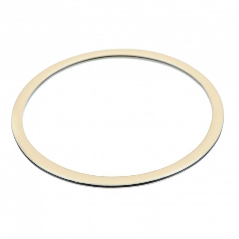 Medium size round shape Bracelet in Ivory and black shiny finish