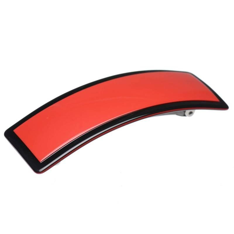 Medium size rectangular shape Hair barrette in Marlboro red and black shiny finish