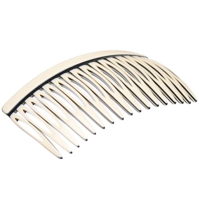 Medium size regular shape Hair side comb in Ivory and black shiny finish