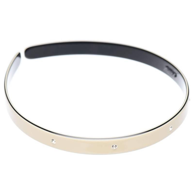 Medium size regular shape Headband in Ivory and black shiny finish