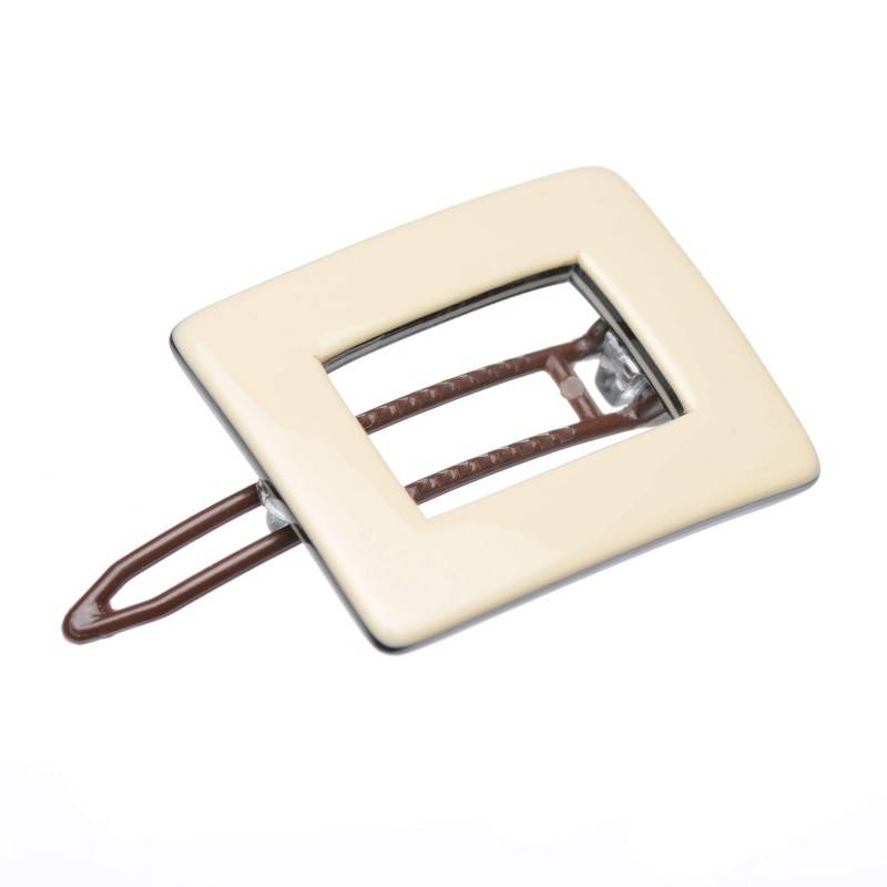 Small size rectangular shape Hair clip in Ivory and black shiny finish