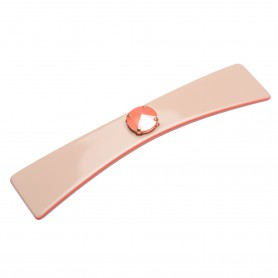 Medium size bow shape Hair barrette in Hazel and coral