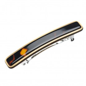 Small size rectangular shape Hair clip in Dark brown demi and gold