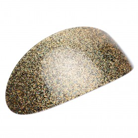 Very large size oval shape Hair barrette in Gold glitter