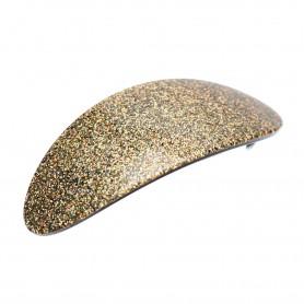 Large size oval shape Hair barrette in Gold glitter