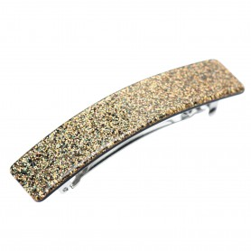 Medium size rectangular shape Hair barrette in Gold glitter