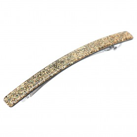 Medium size long and skinny shape Hair barrette in Gold glitter