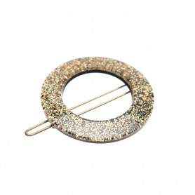 Small size round shape Hair clip in Gold glitter