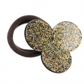 Medium size flower shape Hair elastic with decoration in Gold glitter