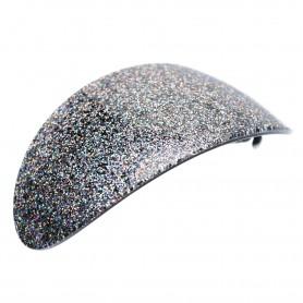 Very large size oval shape Hair barrette in Silver glitter