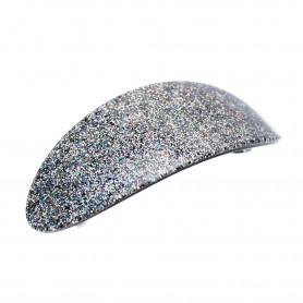 Large size oval shape Hair barrette in Silver glitter