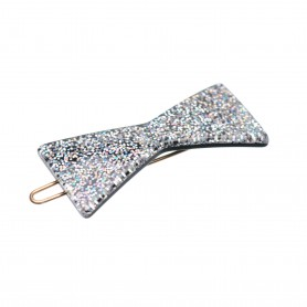 Small size bow shape Hair clip in Silver glitter