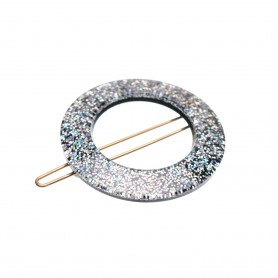 Small size round shape Hair clip in Silver glitter