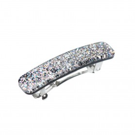 Small size rectangular shape Hair clip in Silver glitter