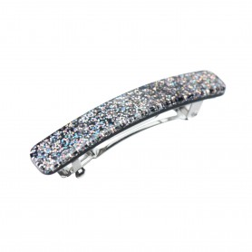 Small size rectangular shape Hair clip in Silver glitter