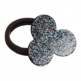 Medium size flower shape Hair elastic with decoration in Silver glitter