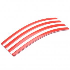 Medium size rectangular shape Hair barrette in Marlboro red and white